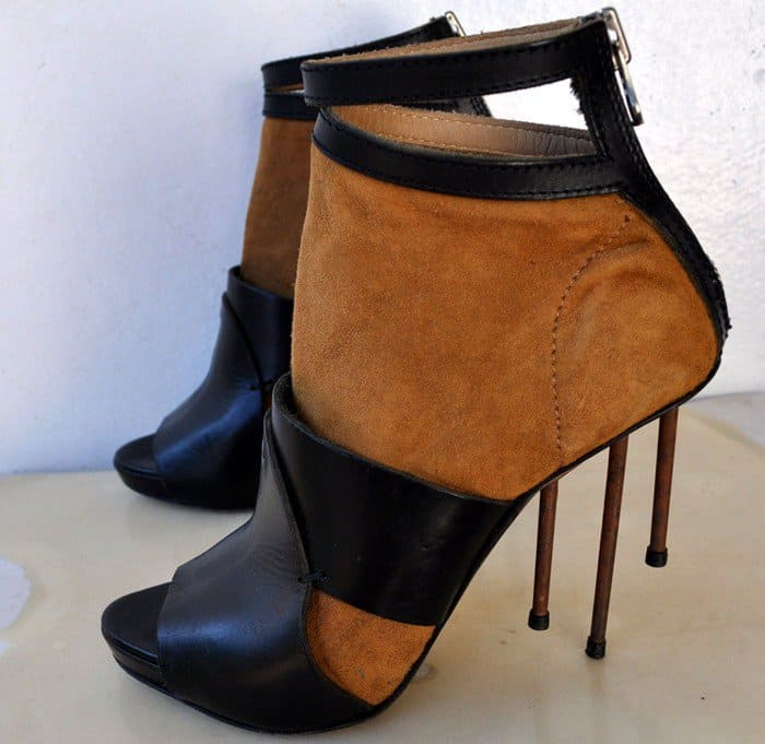ACNE Gemini Suede Leather Sandal Booties Rusted Nail Heels
