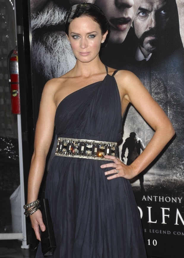 Emily Blunt wearing a one-shouldered Kaufmanfranco dress