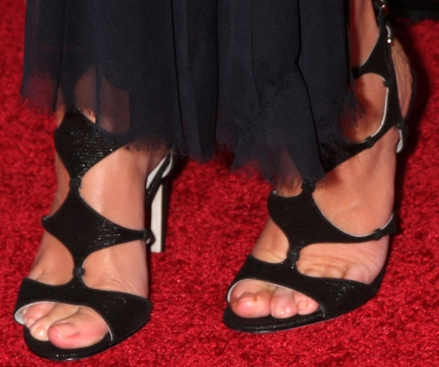 Emily Blunt wearing Sergio Rossi cut-out sandals