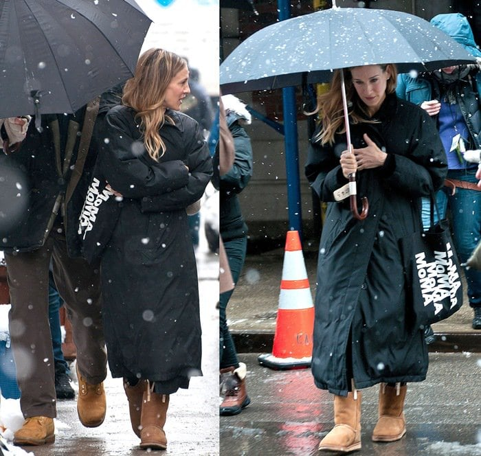 "Sarah Jessica Parker wearing UGG boots on the film set of ""I Don't Know How She Does It"" in the West Village of Manhattan on January 26, 2011"