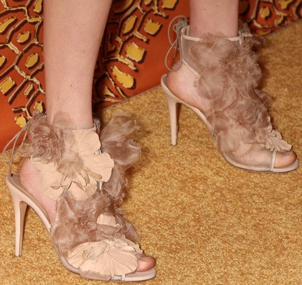Amanda Seyfried showing off her feet in nude petal detailed peep-toe booties