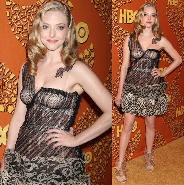 Amanda Seyfried went for a Valentino Fall 2009 Couture dress paired with nude petal detailed peep-toe booties from the same designer