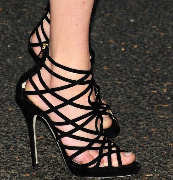"Amanda Seyfried wearing Jimmy Choo ""Verity"" strappy gladiator heels"