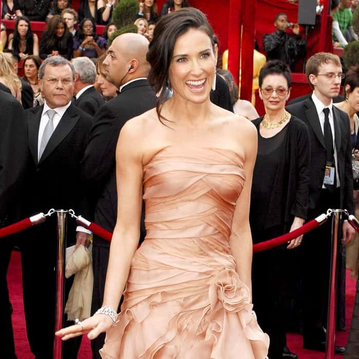 Demi Moore in Versace at the 82nd Annual Academy Awards, Oscars, at the Kodak Theatre in Los Angeles, California on March 7, 2010
