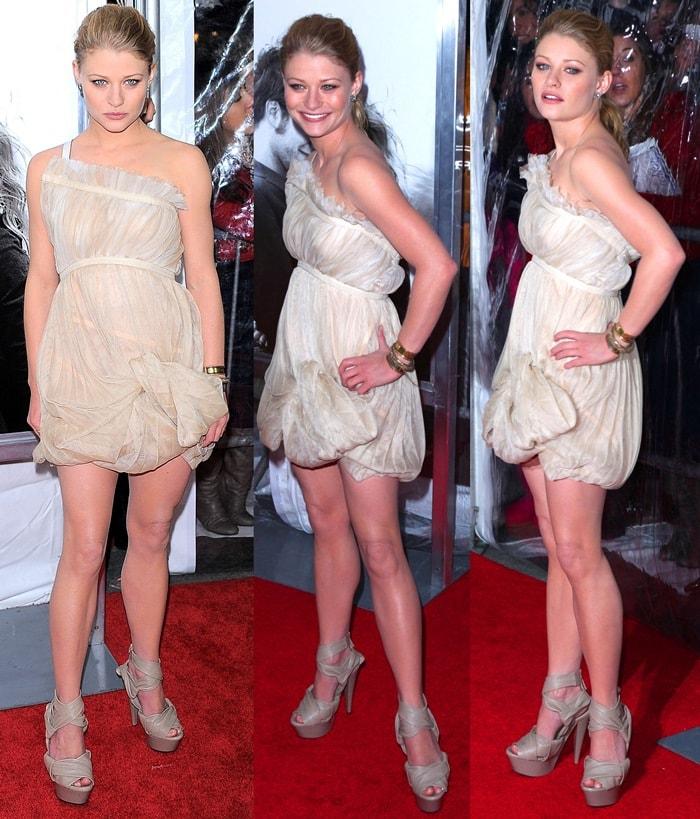 Emilie de Ravin shows off her legs in a Gianfranco Ferre minidress