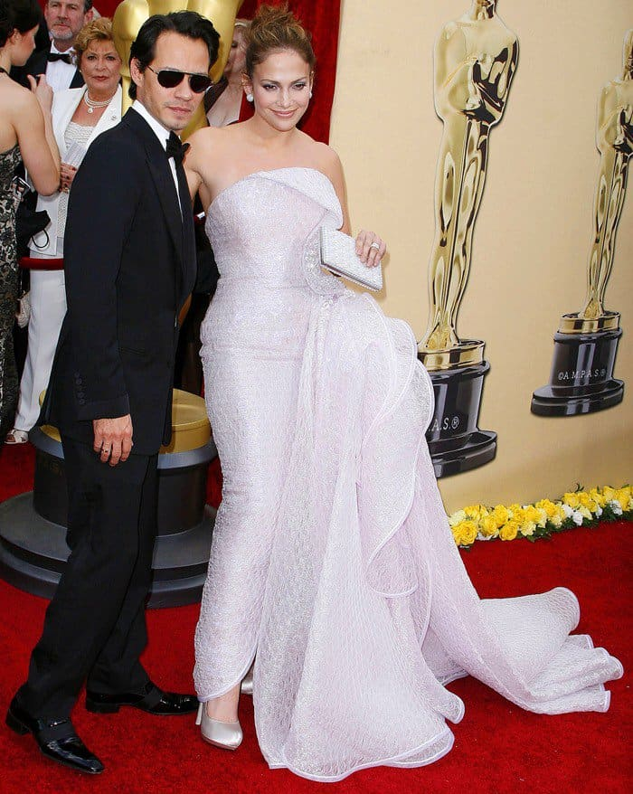 Jennifer Lopez in Giorgio Armani Privé, posing with Marc Anthony, at the 82nd Annual Academy Awards, Oscars, at the Kodak Theatre in Los Angeles, California on March 7, 2010