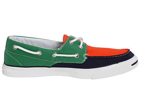 Converse Jack Purcell Boat Shoe in Green/Navy/Orange