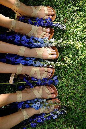 Bridesmaids wearing custom color Sseko sandals