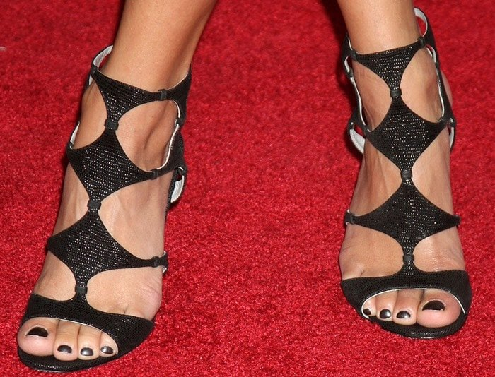 Vanessa Hudgens showing off her hot feet in Sergio Rossi lizard-embossed cutout sandals