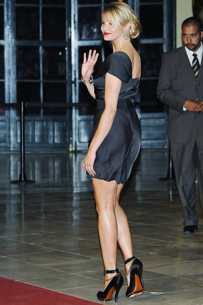 Cameron wearing a ruched black one-shouldered Lanvin Spring 2010 dress