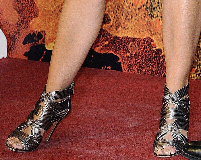 Katie Holmes in Azzedine Alaïa gladiator heels