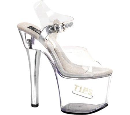 Pleaser Tipjar Clear Platform Sandal
