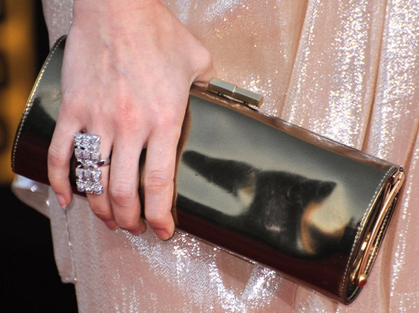 Carrie Underwood totinga tube metallic leather clutch