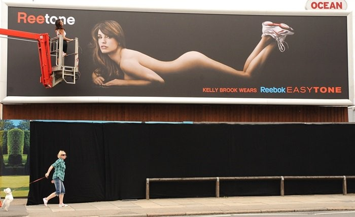 A deadly distraction? Another of the nude Kelly Brook for Reebok billboards placed at a traffic hotspot