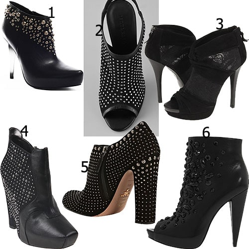 6 studded and/or mesh booties
