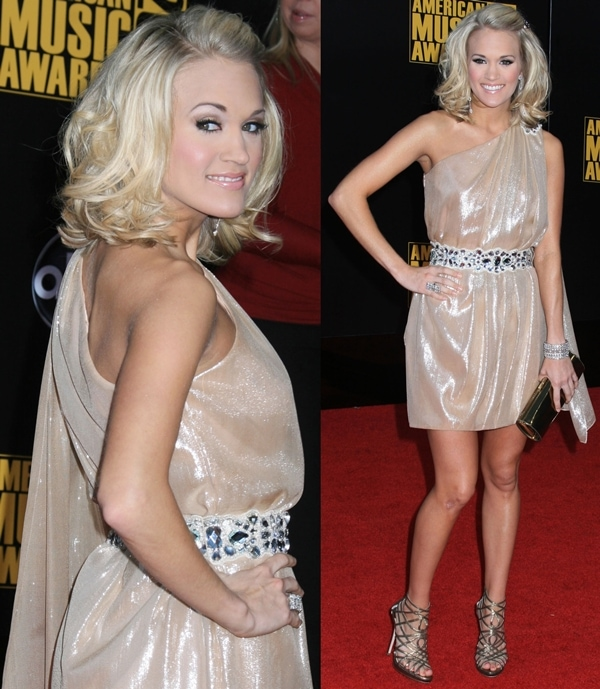 Carrie Underwood at the 2009 American Music Awards held at the Nokia Theatre L.A. Live in Los Angeles on November 22, 2009