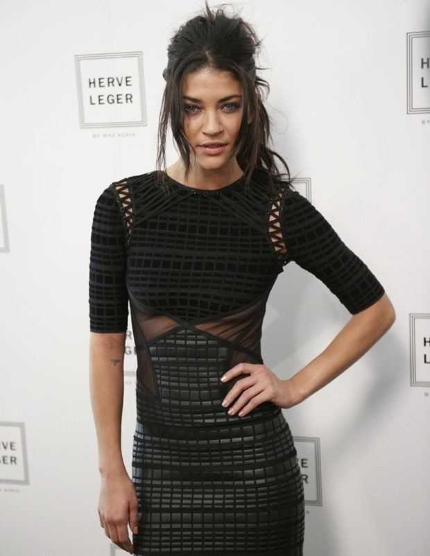 Jessica Szohr's leather-like dress with see-through insets