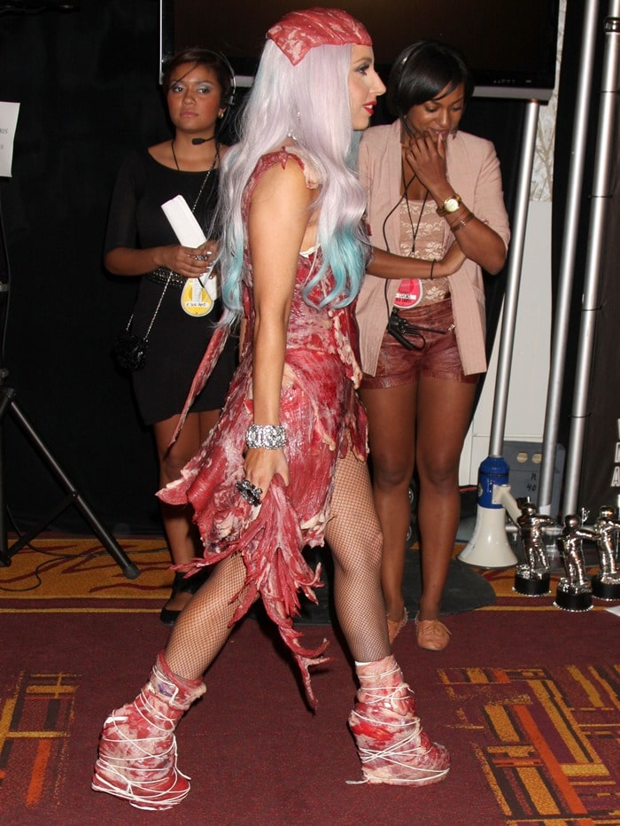 Lady Gaga at the 2010 MTV Video Music Awards held at the Nokia Theatre L.A. on September 12, 2010