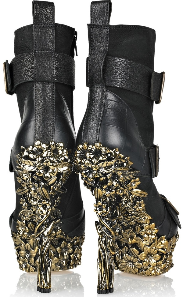 Alexander McQueen Gold Floral-Engraved Buckle Leather Boots Back