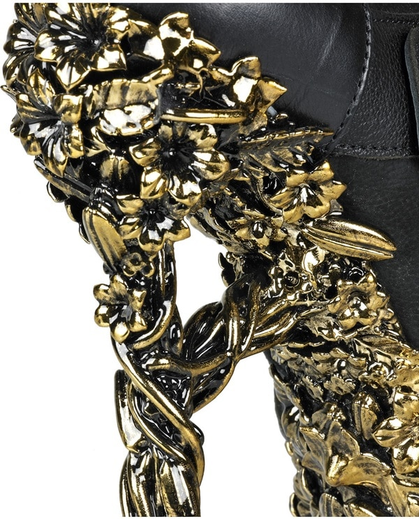 Alexander McQueen Gold Floral-Engraved Buckle Leather Boots