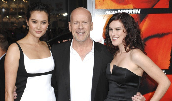 Emma Heming, Bruce Willis, and Rumer Willis at a special screening of Summit Entertainment's 'RED'