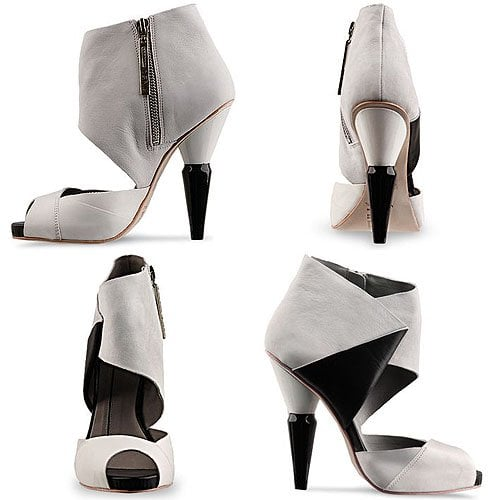 Finsk 205-122 High Heel Sandal Booties in Off White Black