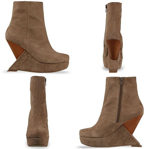 Jeffrey Campbell Meeker Suede Wooden Wedge Booties in Taupe Suede