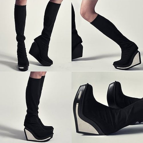 Jeffrey Campbell Mesh Boots in Black