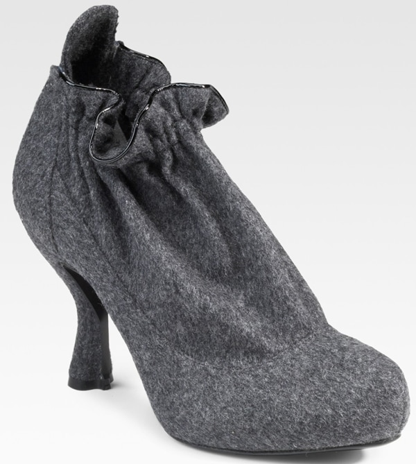 Potato-Sack Nina Ricci Wool Flannel Ankle Boots