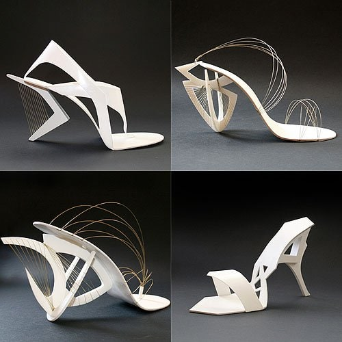Shoes by Sarajevo designer Tea Petrovic inspired by the work of Russian sculptor Naum Gabo and Spanish architect Santiago Calatrava