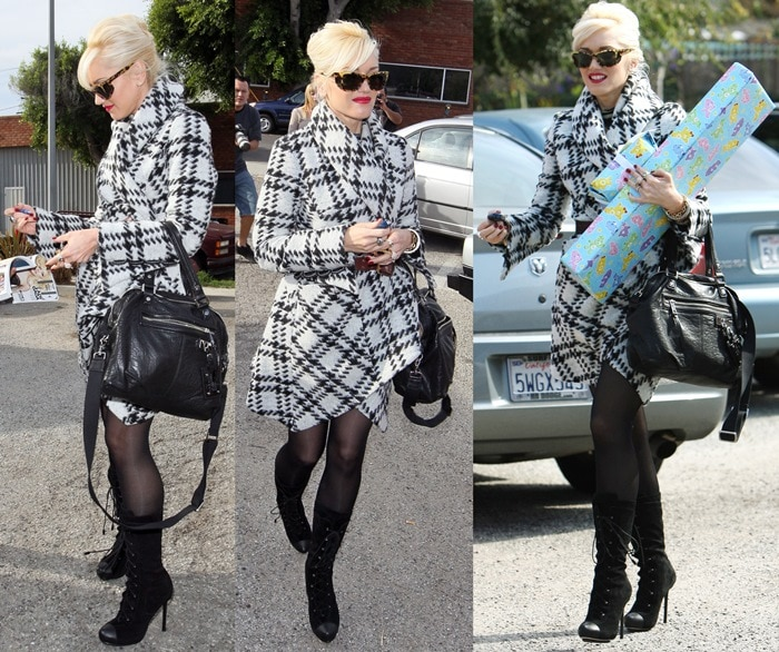 Gwen Stefani wearing a plaid shawl collar jacket with lace-up boots