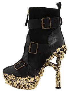 Alexander McQueen Grinling Gibbons Gold Heeled Show Boot