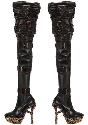 Alexander McQueen Grinling Gibbons Gold Heeled Thigh High Show Boots