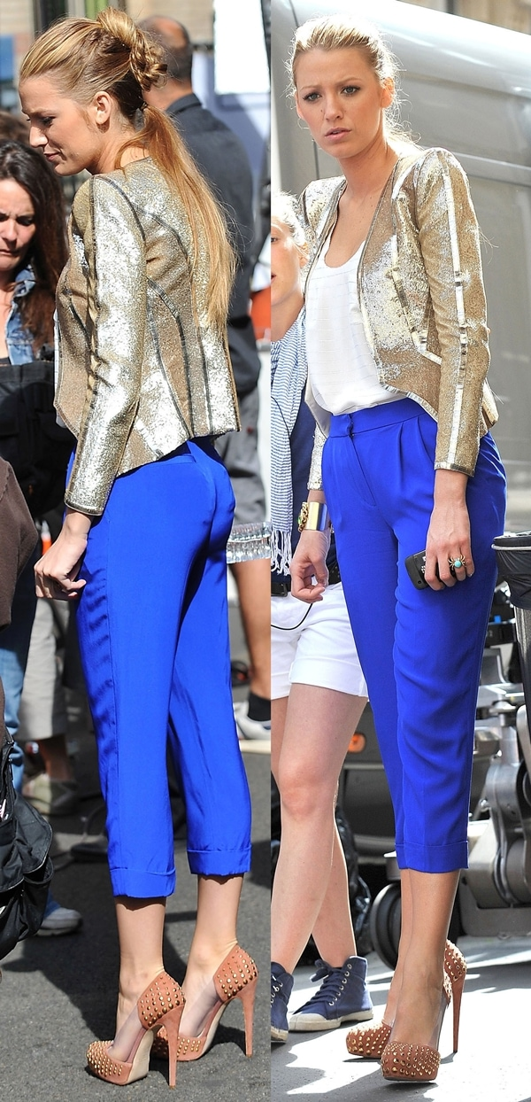 Blake Lively on the set of 'Gossip Girl' in Paris on July 6, 2010