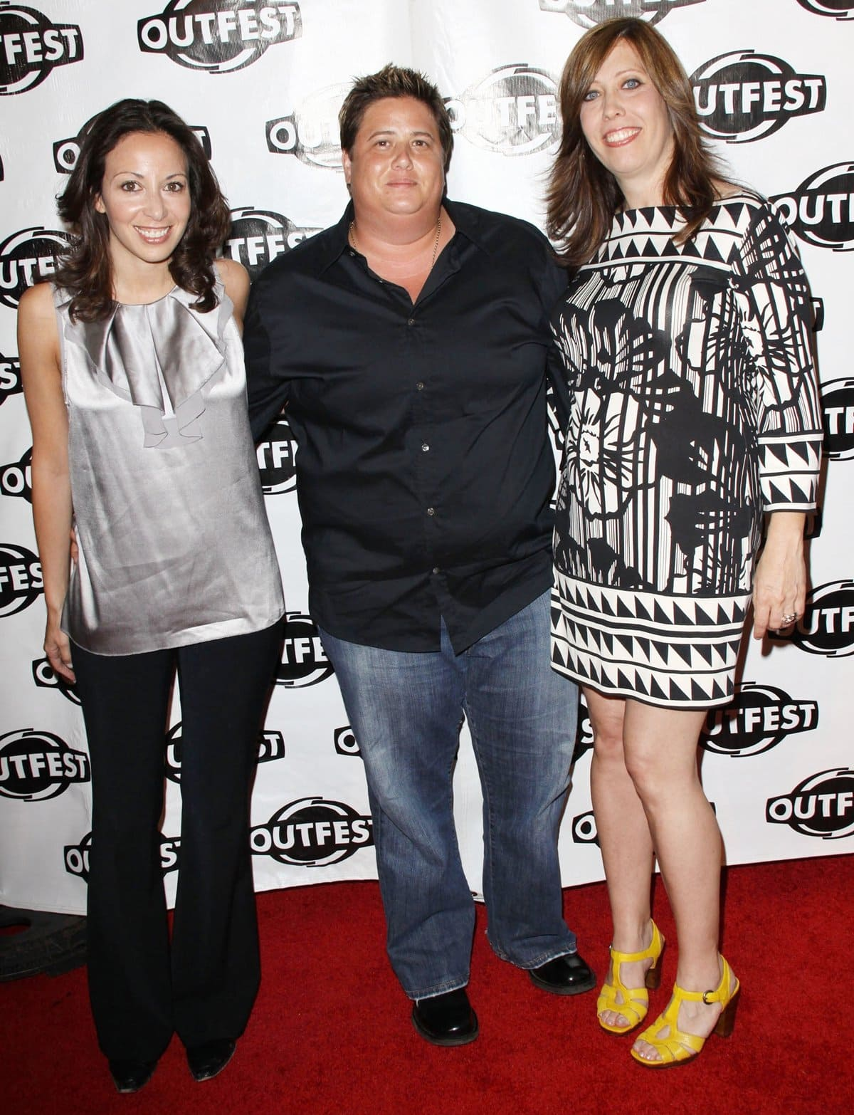 Chaz Bono with his then-girlfriend Jennifer Elia and Outfest Executive Director Kirsten Schaffer