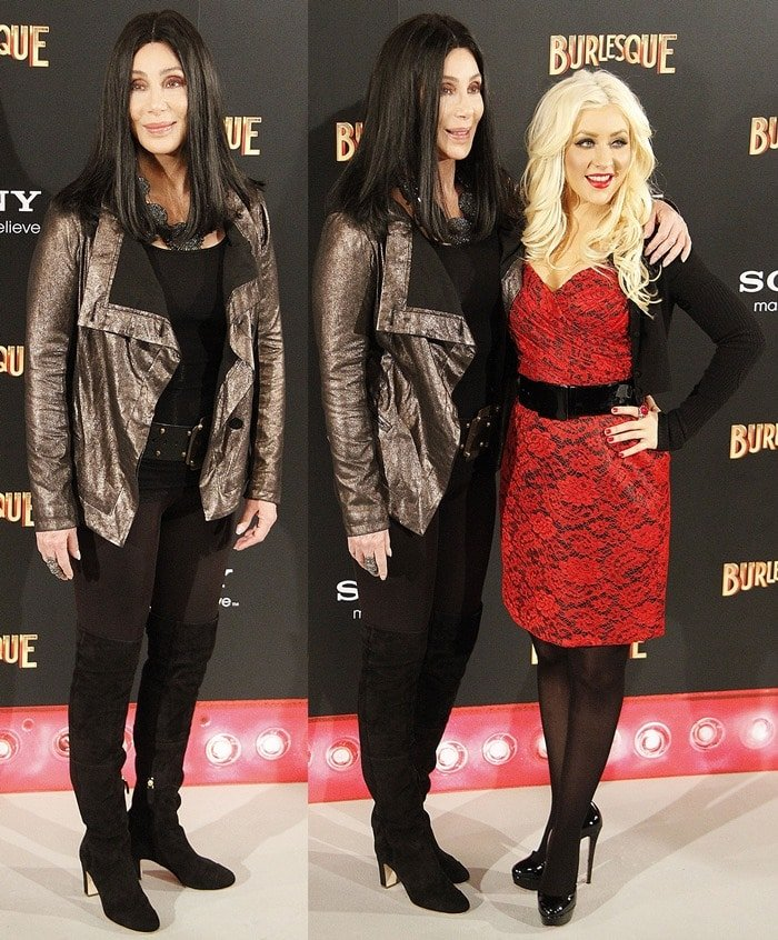 Christina looked great in her red lace strapless number and Cher was in sleek black suede over-the-knee boots