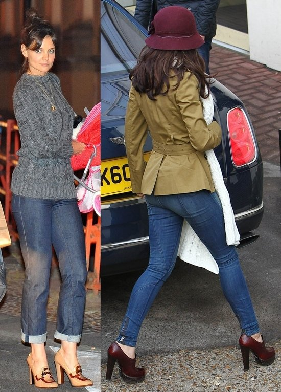 Cheryl Cole and Katie Holmes both show off their Prada loafer pumps