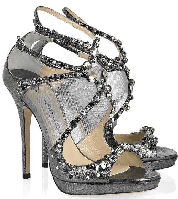 Jimmy Choo Gray Anthracite Metallic Leather 'Viola' Crystal Detailed Sandals