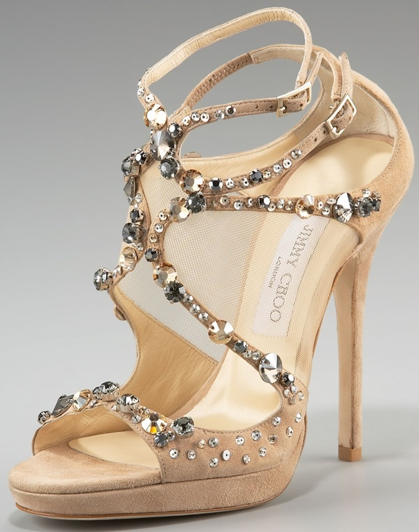 Jimmy Choo 'Viola' Crystal Embellishment Sandal Nude