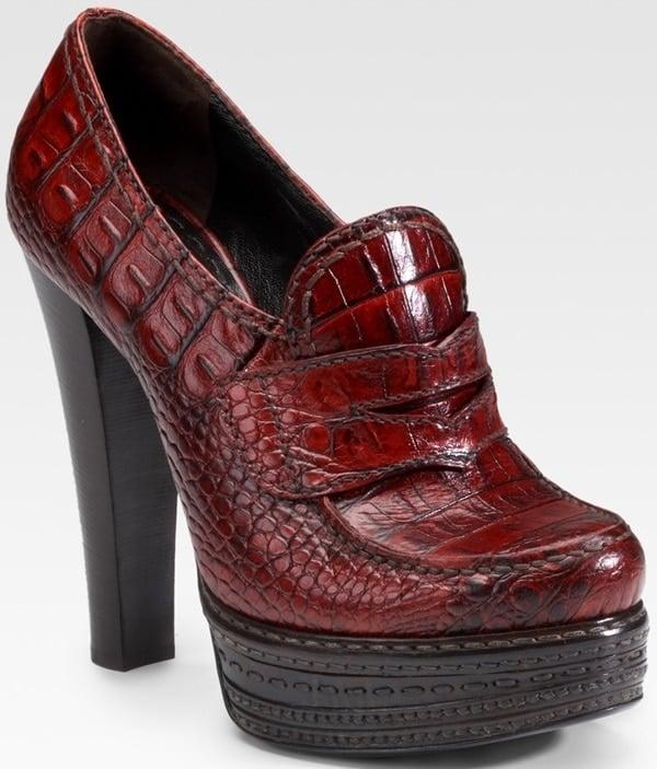 Prada red stamped crocodile leather pumps