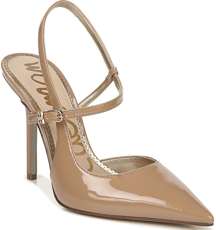 A slender asymmetrical strap adds a contemporary-chic flourish to this impeccable pointed-toe pump
