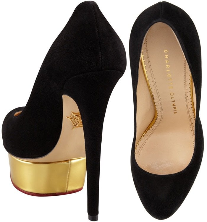 Charlotte Olympia Dolly Signature Court Island Platform in Black Suede Toe
