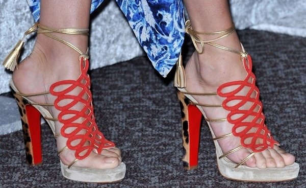 Close-up of Chloe Sevigny's Christian Louboutin Salsbourg sandals