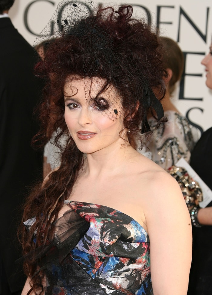Helena Bonham Carter poses for the cameras on the red carpet at the 2011 Golden Globe Awards held at The Beverly Hilton Hotel in Beverly Hills, California on January 16, 2011