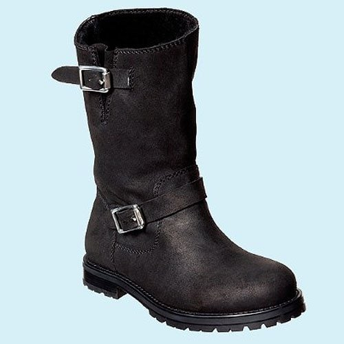 Jimmy Choo men's biker boots in black calfskin with pewter buckles