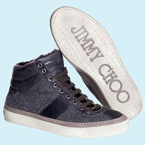 Jimmy Choo men's high-top trainers in cashmere