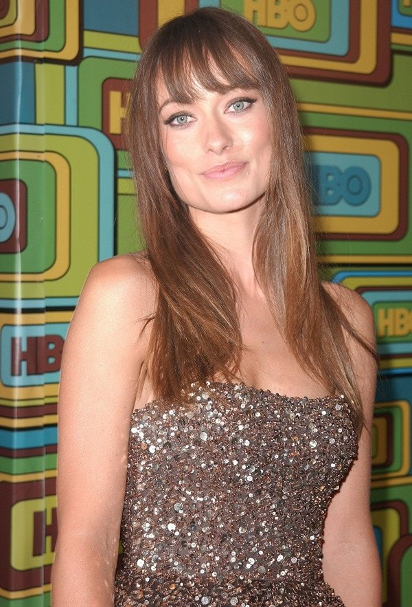 Olivia Wilde wearing a gorgeous glittering Marchesa gown