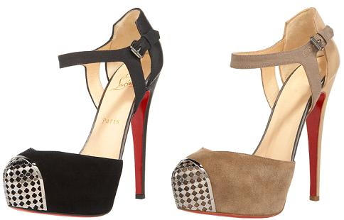 Christian Louboutin 'Boulima' d'Orsay in Black and Tan Suede