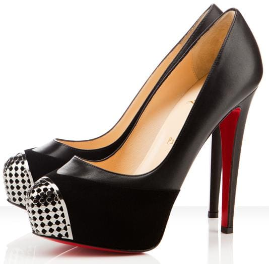 Christian Louboutin 'Maggie' 140 Leather-Trimmed Calf Hair Pumps