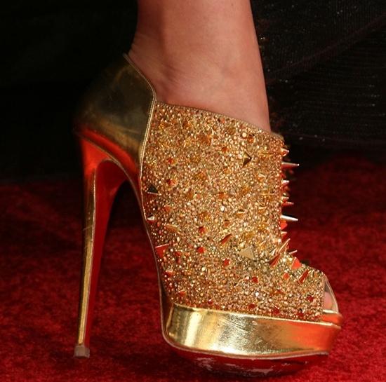 7ad30dfaaf1e Olivia Wilde in Gold Christian Louboutin  Bridget s Back  Ankle Boots